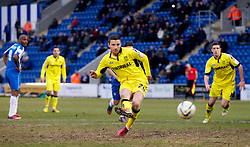COLCHESTER, ENGLAND - Saturday, February 23, 2013: Tranmere Rovers' Michael O'Halloran scores the fifth goal against Colchester United from the penalty-spot during the Football League One match at the Colchester Community Stadium. (Pic by Vegard Grott/Propaganda)