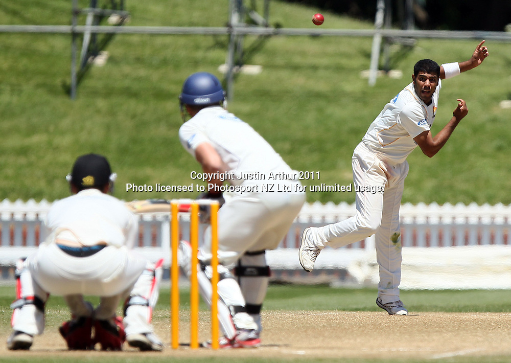 Jeetan Patel in action. Plunket Shield cricket - Wellington Firebirds v Otago Volts, day four at Hawkins Basin Reserve, Wellington, New Zealand on Friday 2 December 2011. Photo: Justin Arthur / photosport.co.nz