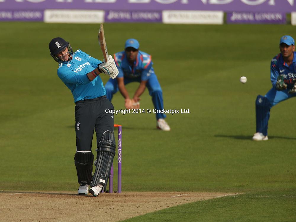 Joe Root bats during the fifth and final Royal London One Day International between England and India at Headingley, Leeds. Photo: Graham Morris/www.cricketpix.com (Tel: +44 (0)20 8969 4192; Email: graham@cricketpix.com) 050914