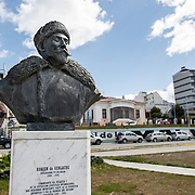 A bust of Belgian Antarctic explorer Adrien de Gerlache (1866-1934) on the waterfront of Ushuaia, Argentina.
