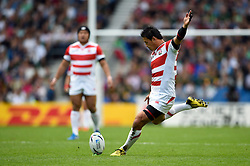 Ayumu Goromaru of Japan kicks for the posts - Mandatory byline: Patrick Khachfe/JMP - 07966 386802 - 19/09/2015 - RUGBY UNION - Brighton Community Stadium - Brighton, England - South Africa v Japan - Rugby World Cup 2015 Pool B.