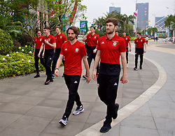 NANNING, CHINA - Monday, March 26, 2018: Wales' Joe Allen and Ben Davies during a team walk near the Wanda Realm Resort on day seven of the 2018 Gree China Cup International Football Championship ahead of the final against Uruguay. (Pic by David Rawcliffe/Propaganda)