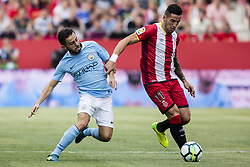 August 15, 2017 - Girona, Spain - 55 Brahim Diaz from Spain of Manchester City defending 11 Aday from Spain of Girona FC during the Costa Brava Trophy match between Girona FC and Manchester City at Estadi de Montilivi on August 15, 2017 in Girona, Spain. (Credit Image: © Xavier Bonilla/NurPhoto via ZUMA Press)