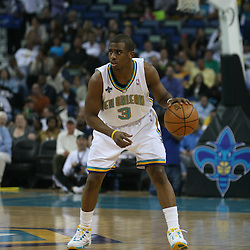 15 April 2008: New Orleans Hornets guard Chris Paul #3 takes the ball down court during the first quarter of the Hornets 114-92 win over the Los Angeles Clippers at the New Orleans Arena in New Orleans, Louisiana.