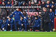 Tottenham Hotspur manager Mauricio Pochettino is unhappy with something and is talking to AFC Bournemouth manager Eddie Howe during the Premier League match between Bournemouth and Tottenham Hotspur at the Vitality Stadium, Bournemouth, England on 11 March 2018. Picture by Graham Hunt.