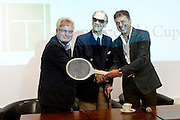 (C) Bohdan Tomaszewski and (L) Jerzy Hertel and (R) Krzysztof Suski - president of Polish Tennis Association during opening ceremony before tennis tournament Tomaszewski Cup 2013 at Legia's courts in Warsaw.<br /> <br /> Poland, Warsaw, September 02, 2013<br /> <br /> Picture also available in RAW (NEF) or TIFF format on special request.<br /> <br /> For editorial use only. Any commercial or promotional use requires permission.<br /> <br /> Photo by &copy; Adam Nurkiewicz / Mediasport