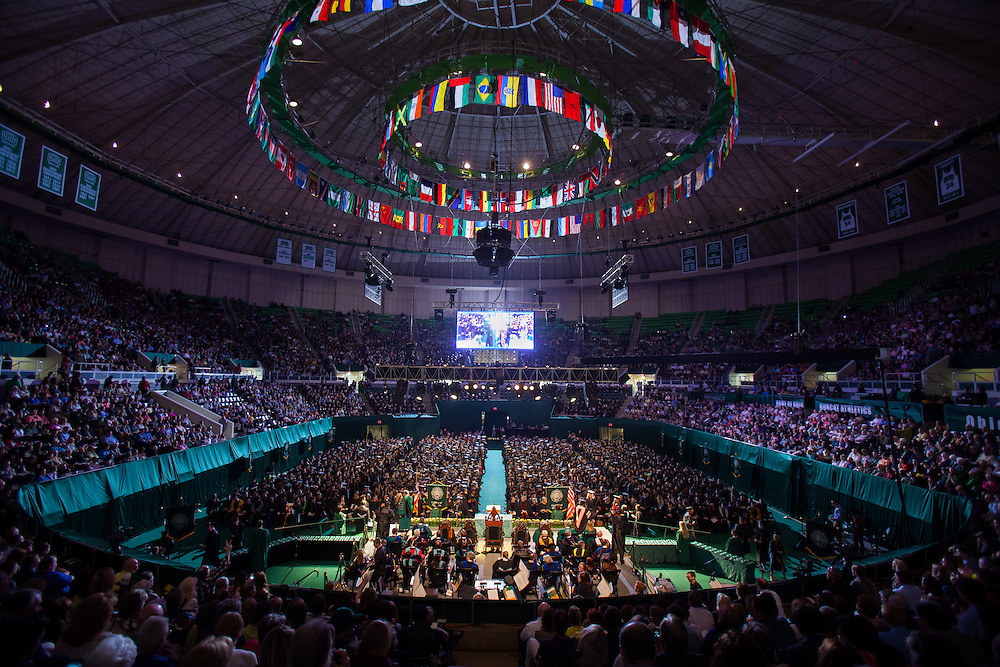 A capacity crowd during Commencement ceremony at Ohio University Convocation Center, Saturday May 3, 2014 .  Photo by Ohio University / Jonathan Adams