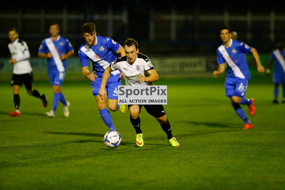 Dover's striker Ricky Miller (9) makes a break. Dover Athletic v Eastleigh. Vanarama National League. 10  November 2015. (c) Matt Bristow   SportPix.org.uk