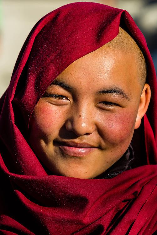 Buddhist nun in Choglamsar in the Leh Valley, Ladakh, Jammu and Kashmir State, India.