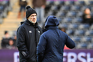 Ospreys' Head Coach Steve Tandy chats to Cardiff Blues' Head Coach Danny Wilson<br /> <br /> Photographer Craig Thomas/Replay Images<br /> <br /> Guinness PRO14 Round 13 - Ospreys v Cardiff Blues - Saturday 6th January 2018 - Liberty Stadium - Swansea<br /> <br /> World Copyright &copy; Replay Images . All rights reserved. info@replayimages.co.uk - http://replayimages.co.uk
