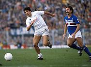 15.12.1985.Salvatore Bagni (Napoli) v Graeme Souness (Sampdoria).©JUHA TAMMINEN