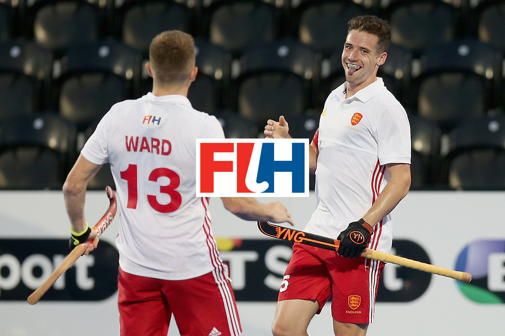 LONDON, ENGLAND - JUNE 20:  Phil Roper of England celebrates scoring his sides fifth goal with Sam Ward of England during the Pool A match between England and South Korea on day six of the Hero Hockey World League Semi-Final at Lee Valley Hockey and Tennis Centre on June 20, 2017 in London, England.  (Photo by Alex Morton/Getty Images)