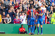 GOAL 2-0. Crystal Palace defender Patrick van Aanholt (3) celebrates Crystal Palace defender Scott Dann (6) after scoring a goal during the Premier League match between Crystal Palace and Huddersfield Town at Selhurst Park, London, England on 30 March 2019.