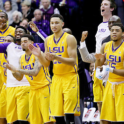 Jan 5, 2016; Baton Rouge, LA, USA; LSU Tigers forward Ben Simmons (25) and teammates cheer from the bench during the first half of a game against the Kentucky Wildcats at the Pete Maravich Assembly Center. Mandatory Credit: Derick E. Hingle-USA TODAY Sports