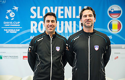 Ziga Janskovec and  Blaz Trupej during press conference of Slovenian Men Tennis Team for Davis Cup Romania vs Slovenia competition, on February 24, 2016 in Kristalna palaca, Ljubljana, Slovenia. Photo by Vid Ponikvar / Sportida