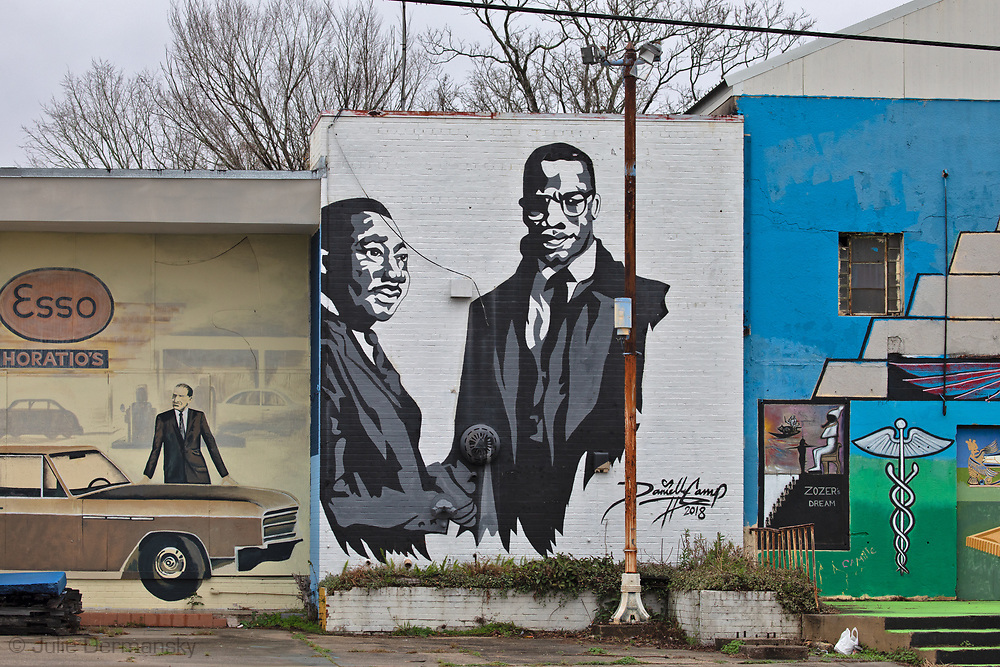 Mural in Baton Rouge with Martin Luther King and Malcolm X.
