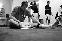 26 May 2007: Duke Blue Devils defenseman Jay Jennison (49) listens to his music in the locker room before the NCAA semifinals to take on the Cornell Big Red at M&T Bank Stadium in Baltimore, MD.