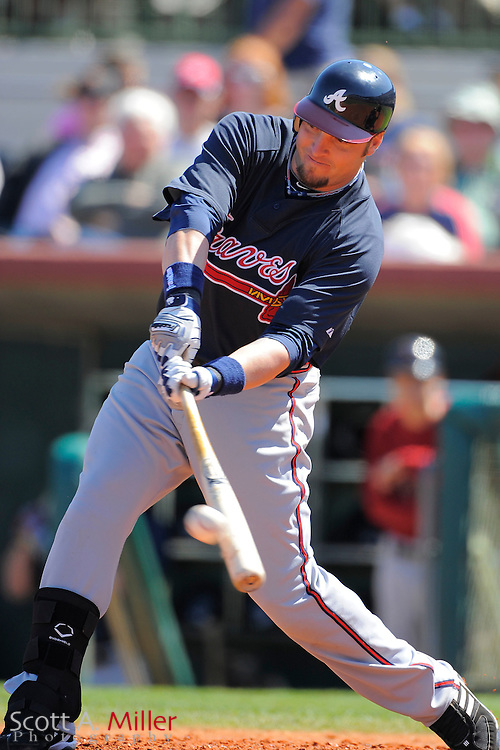 March 6, 2010; Kissimmee, FL, USA; Atlanta Braves first baseman Eric Hinske (20) during the Braves game against the Houston Astros game at Osceola County Stadium. ©2010 Scott A. Miller