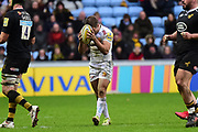Exeter Chiefs fullback Santiago Cordero  hides his face with the ball after knocking on during the Aviva Premiership match between Wasps and Exeter Chiefs at the Ricoh Arena, Coventry, England on 18 February 2018. Picture by Dennis Goodwin.