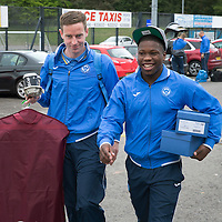 St Johnstone FC depart McDiarmid Park in Perth for the William Hill Scottish Cup Final....16.05.15<br /> Steven MacLean and Nigel Hasselbaink all smiles as they arrive at McDiarmid Park to board the coach heading for their hotel in Glasgow.<br /> Picture by Graeme Hart.<br /> Copyright Perthshire Picture Agency<br /> Tel: 01738 623350  Mobile: 07990 594431
