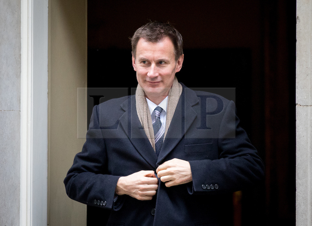 © Licensed to London News Pictures. 21/02/2017. London, UK. Health Secretary Jeremy Hunt leaving Number 10 Downing Street after attending a Cabinet meeting this morning. Photo credit : Tom Nicholson/LNP