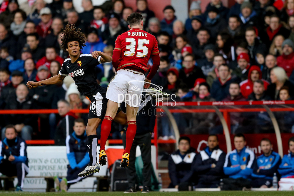 Watford defender, on loan from Chelsea, Nathan Ake wins the ball during the The FA Cup fourth round match between Nottingham Forest and Watford at the City Ground, Nottingham, England on 30 January 2016. Photo by Simon Davies.