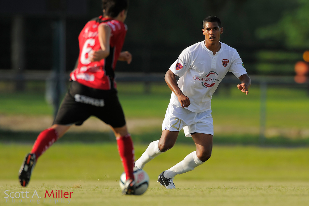 Orlando City defender Sean Reynolds (21)in action during Orlando City's 2-1 win over Laredo Heat in their PDL Southern Conference Championships playoff game at Trinity Catholic High Schooll on July 20, 2012 in Ocala, Florida. ..©2012 Scott A. Miller