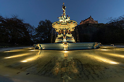 Following the restoration of the Ross Fountain in Edinburgh's Princess Street Gardens in July, the water feature has now been fitted with  a low energy, state of the art, waterproof LED system integral within the fountain pools which will project ripples as the water is moved by the wind, creating a shimmering effect after dark.