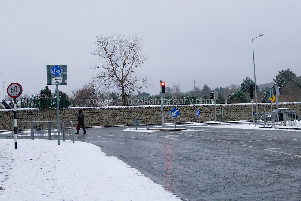 Snow covered path in suburban in Dublin Ireland