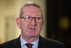 London, UK. 24 January, 2020. Len McCluskey, General Secretary of Unite, speaks to the media outside TUC Congress House after announcing that the trade union would be backing Rebecca Long-Bailey to succeed Jeremy Corbyn as Labour Leader and Richard Burgon for the currently vacant Deputy Leader position.