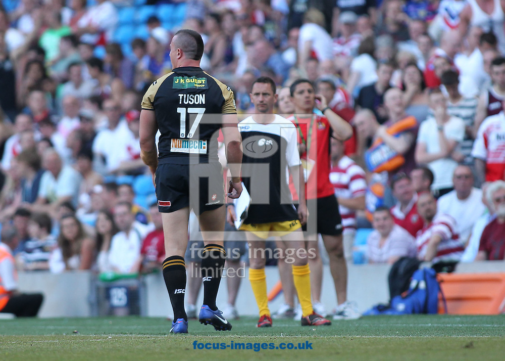 Picture by MIchael Sedgwick/Focus Images Ltd. 07900 363072.27/05/12.Chris Tuson of the Wigan Warriors is sent off during the match against St Helens during the Stobart Super League 'Magic Weekend' match at the Etihad Stadium, Manchester.