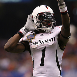 Jan 01, 2010; New Orleans, LA, USA; Cincinnati Bearcats wide receiver Mardy Gilyard (1) pumps up the crowd during the 2010 Sugar Bowl at the Louisiana Superdome. Florida defeated Cincinnati 51-24.  Mandatory Credit: Derick E. Hingle-US PRESSWIRE.