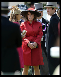 Image ©Licensed to i-Images Picture Agency. 21/06/2014. Ascot, United Kingdom.Princess Beatrice and  Princess Eugenie (right) watch the racing on  Day 5 of Royal Ascot. Ascot Racecourse. Picture by Andrew Parsons / i-Images