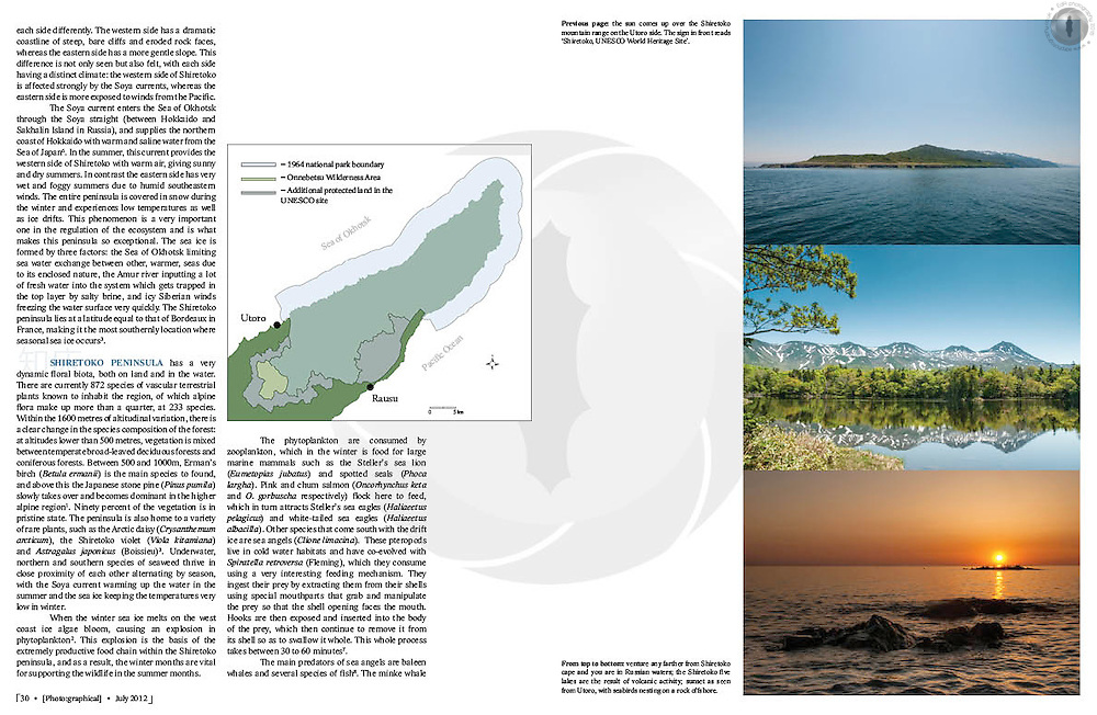 Double-page spread on an article about Shiretoko National Park in eastern Hokkaido, Japan. Graphics text and design my own.