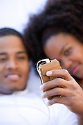 Couple Using MP3 Player