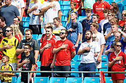 CHARLOTTE, USA - Sunday, July 22, 2018: Supporters stand during the playing of the national anthem before a preseason International Champions Cup match between Borussia Dortmund and Liverpool FC at the  Bank of America Stadium. (Pic by David Rawcliffe/Propaganda)