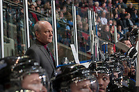 KELOWNA, CANADA -FEBRUARY 8: Enio Sacilotto, assistant coach of the Victoria Royals stands on the bench against the Kelowna Rockets on February 8, 2014 at Prospera Place in Kelowna, British Columbia, Canada.   (Photo by Marissa Baecker/Getty Images)  *** Local Caption *** Enio Sacilotto;