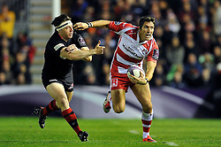 James Hook of Gloucester Rugby takes on the Edinburgh defence - Photo mandatory by-line: Patrick Khachfe/JMP - Mobile: 07966 386802 01/05/2015 - SPORT - RUGBY UNION - London - The Twickenham Stoop - Edinburgh Rugby v Gloucester Rugby - European Rugby Challenge Cup Final