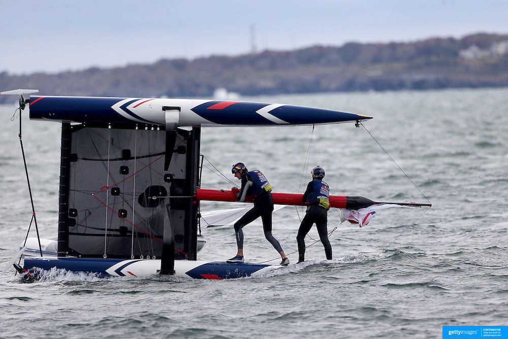 NEWPORT, RHODE ISLAND- OCTOBER 22:  The Belgium team of Alec Bague and Wirtz Morgan after capsizing during the Red Bull Foiling Generation World Final 2016 on October 22, 2016 in Narragansett Bay, Newport, Rhode Island. (Photo by Tim Clayton/Corbis via Getty Images)