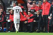 Substitution - Fred (17) of Manchester United leaves the field after being substituted and shakes hands with Manchester United manager Jose Mourinho during the Premier League match between Bournemouth and Manchester United at the Vitality Stadium, Bournemouth, England on 3 November 2018.