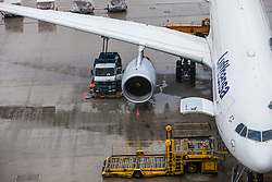THEMENBILD, Airport Muenchen, Franz Josef Strauß (IATA: MUC, ICAO: EDDM), Der Flughafen Muenchen zählt zu den groessten Drehkreuzen Europas, rund 100 Fluggesellschaften verbinden ihn mit 230 Zielen in 70 Laendern, im Bild eine Maschine der Lufthansa, Typ Airbus A330-300 wird am Terminal betankt // THEME IMAGE, FEATURE - Airport Munich, Franz Josef Strauss (IATA: MUC, ICAO: EDDM), The airport Munich is one of the largest hubs in Europe, approximately 100 airlines connect it to 230 destinations in 70 countries. picture shows: a machine of the Lufthansa Airbus A330-300 will be refueled at the terminal, Munich, Germany on 2012/05/06. EXPA Pictures © 2012, PhotoCredit: EXPA/ Juergen Feichter