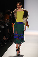 Sara Blomqvist walks the runway wearing BCBG MAXAZRIA Fall 2012 during Mercedes-Benz Fashion Week in New York City,  on February 9th, 2012