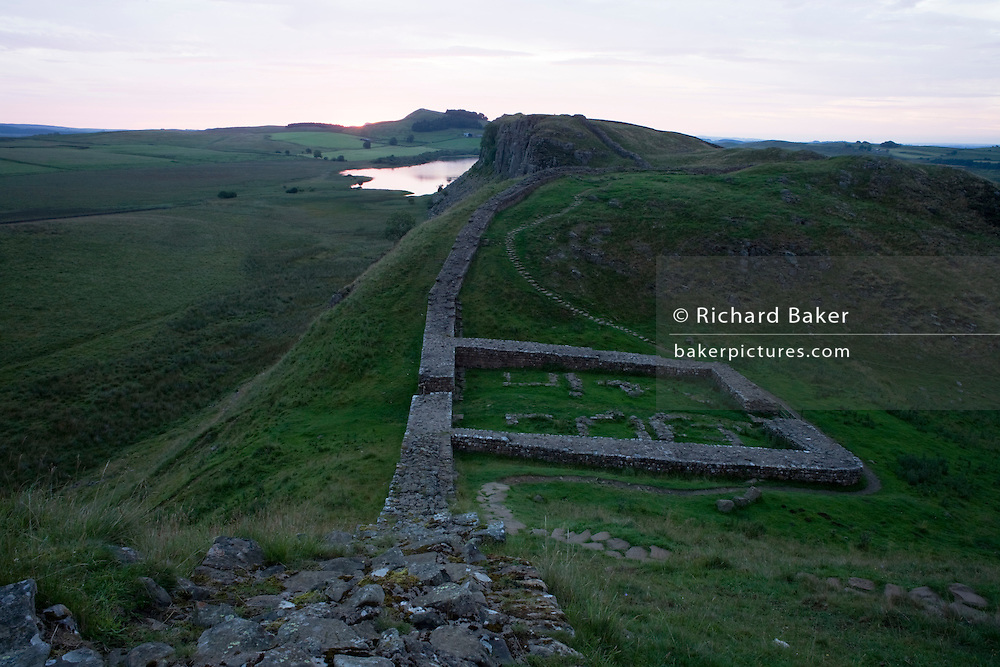 WIde landscape of Milecastle 39 on Roman Hadrian's Wall, once the northern frontier of Rome's empire from Barbarian tribes.