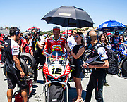 Jun 23  2018  Monterey, CA, U.S.A  # 12 Xavi Fores on the grid during the Motul FIM World Superbike Race # 1 at Weathertech Raceway Laguna Seca  Monterey, CA  Thurman James / CSM
