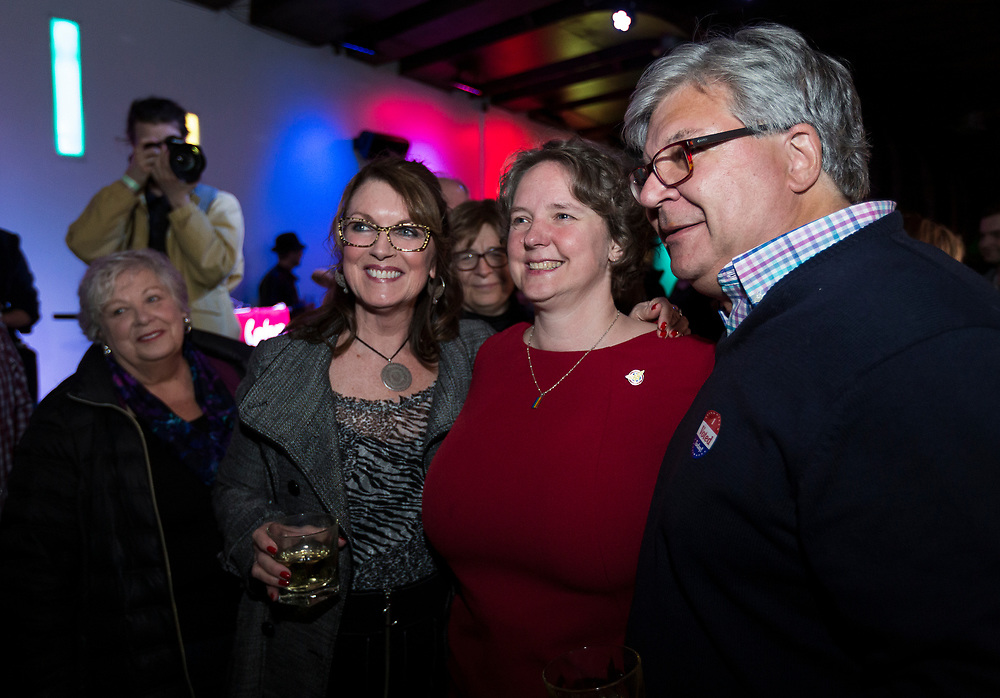 Sayta Rhodes-Conway celebrates her victory over incumbent Paul Soglin during the Madison Mayoral Election watch party at Prism Dance Club in Madison, WI on 20190402.