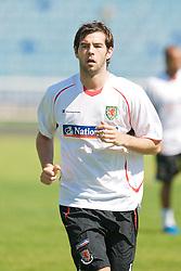 BAKU, AZERBAIJAN - Thursday, June 4, 2009: Wales' captain Joe Ledley training at the Tofig Bahramov Stadium ahead of the 2010 FIFA World Cup Qualifying Group 4 match against Azerbaijan. (Pic by David Rawcliffe/Propaganda)