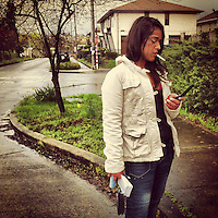 """Behind the scenes image from """"Leaving the Life,"""" an Alexia Foundation supported project on grassroots efforts to address domestic minor sex trafficking in the Seattle area."""