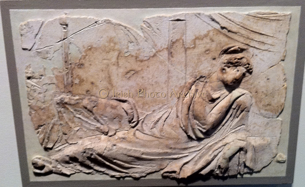 Stucco relief (Roman) depicting a female figure. 1st Century AD
