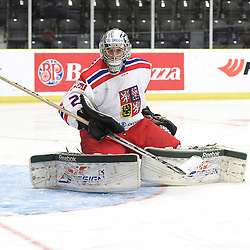 COBOURG, - Dec 18, 2015 -  WJAC Game 11- Team Czech Republic vs Team Switzerland at the 2015 World Junior A Challenge at the Cobourg Community Centre, ON. Dominik Groh #2 of Team Czech Republic protects the crease during the third period.<br /> (Photo: Andy Corneau / OJHL Images)