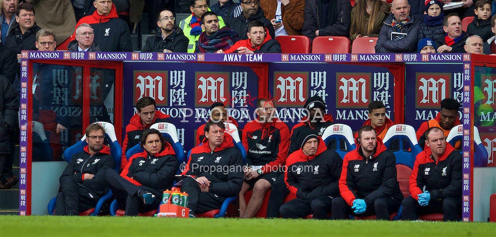 LONDON, ENGLAND - Sunday, March 6, 2016: Liverpool's manager Jürgen Klopp on the bench with assistant manager Zeljko Buvac, first team coach Peter Krawietz, head of fitness and science Ryland Morgans, physiotherapist Chris Morgan during the Premier League match against Crystal Palace at Selhurst Park. (Pic by David Rawcliffe/Propaganda)